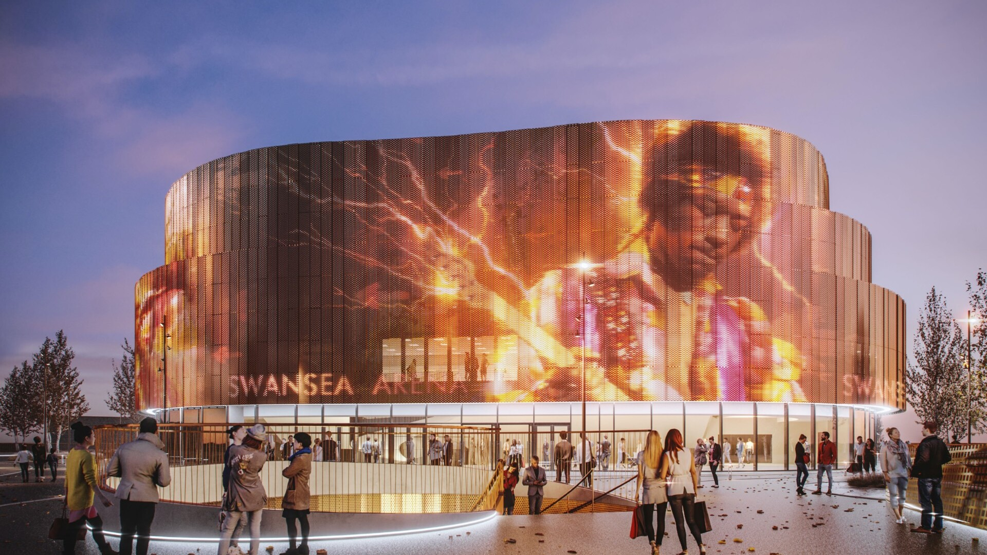 CGI of the new Swansea Central arena